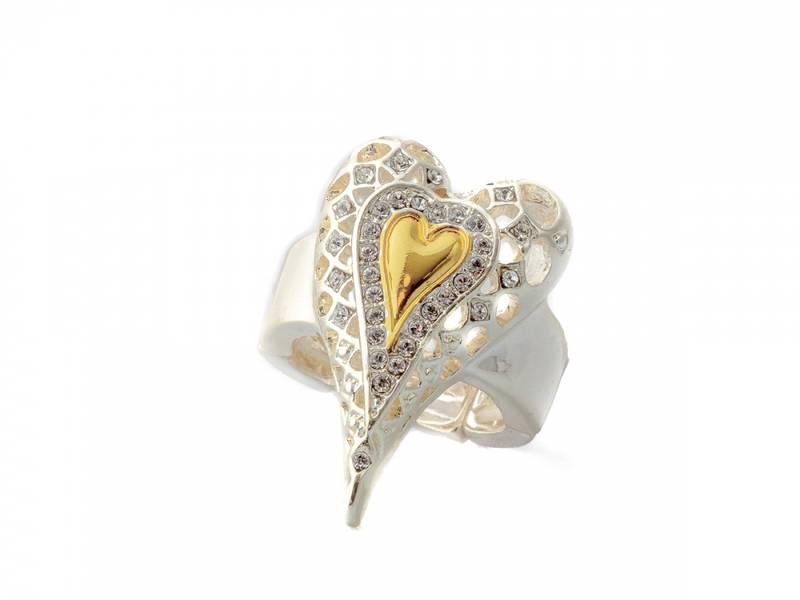 30110 Ring mønster gull hjerte i midten