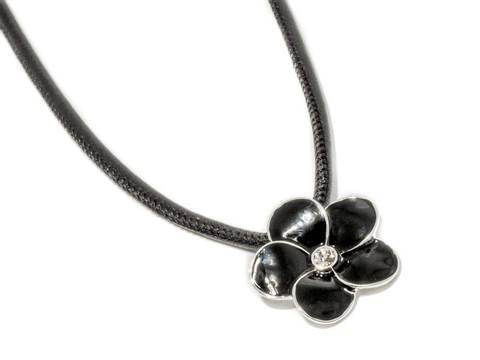Bilde av 90142 Kort halssmykke sort skinnsnor med sort