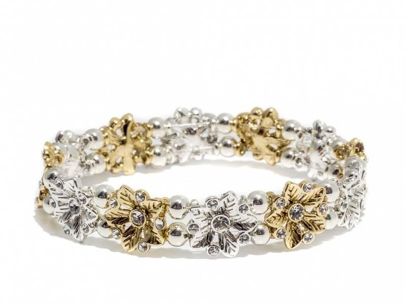 80109 Armbånd med strikk blomster i sølv og gullfarge