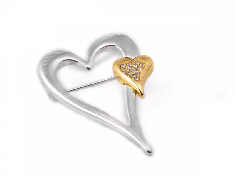40074 Brosje sølvfarget lite gull hjerte